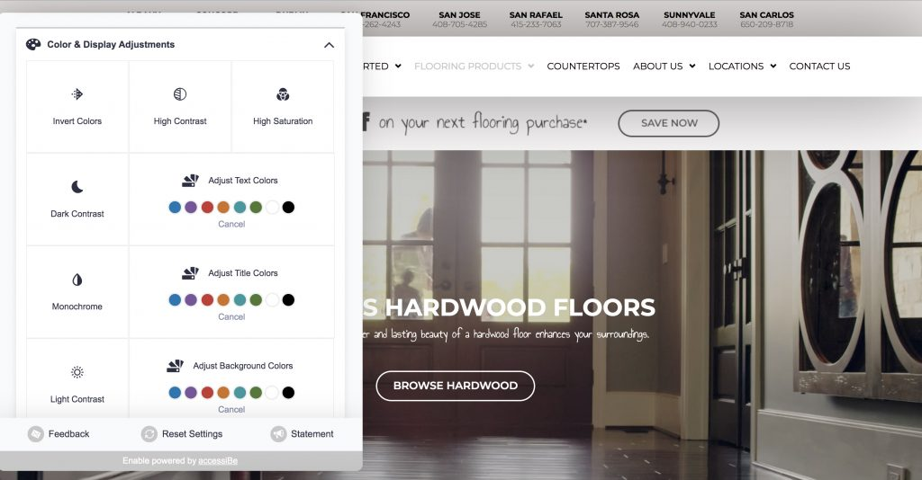 Example of Mobile Marketing's Enable accessibility solution on The Floor Store website.